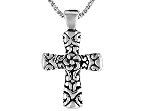 Pre-Owned Rhodium Over Sterling Silver Oxidized Filigree Cross Pendant With Chain