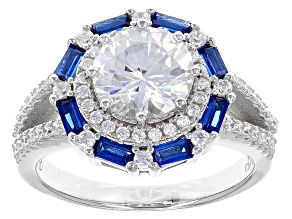 Pre-Owned Blue And White Cubic Zirconia Rhodium Over Sterling Silver Ring 4.18ctw