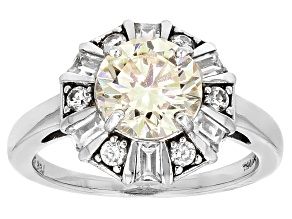 Pre-Owned White Fabulite Strontium Titanate And White Zircon  Sterling Silver Ring 3.26ctw