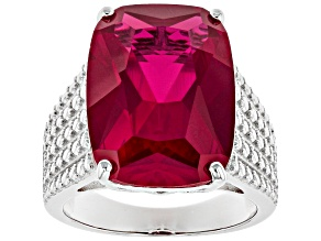 Pre-Owned Red lab created ruby rhodium over silver ring 13.51ct