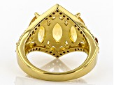 Pre-Owned Golden citrine 18k yellow gold over silver ring 3.76ctw