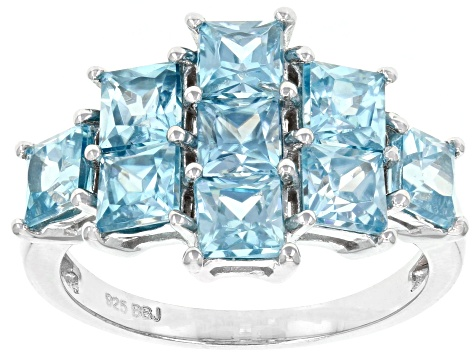 Pre-Owned Blue Zircon Rhodium Over Sterling Silver Ring 3.71ctw