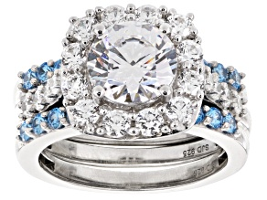 Pre-Owned Swarovski ® Featuring Blue & White Cubic Zirconia Rhodium Over Silver Ring With Bands 6.47
