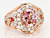 Pre-Owned Pink White Zirconia From Swarovski ® 18K Rose Gold Over Sterling Silver Ring 5.71CTW