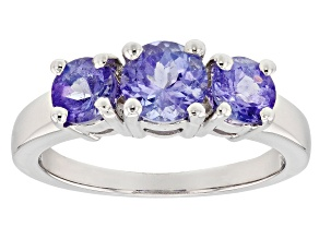 Pre-Owned Blue Tanzanite Rhodium Over Sterling Silver 3-Stone Ring 1.65ctw