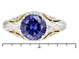 Pre-Owned Blue And White Cubic Zirconia Platineve And 18K Yellow Gold Over Sterling Ring 4.45ctw