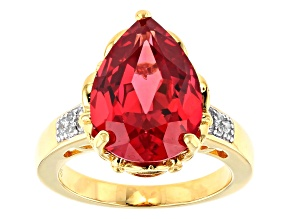 Pre-Owned Orange Lab Created Padparadscha Sapphire 18k yellow gold over silver ring 7.74ctw