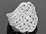 Pre-Owned Cubic Zirconia Rhodium Over Sterling Silver Ring 9.17ctw