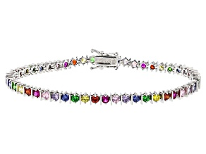 Pre-Owned Synth Blue Spinel/Synth Ruby/Green Nanocrystal/Multicolor Cz Rhod Over Silver Bracelet 8.5