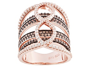 Pre-Owned Brown And White Cubic Zirconia 18k Rose Gold Over Silver Ring 3.18ctw (1.56ctw DEW)