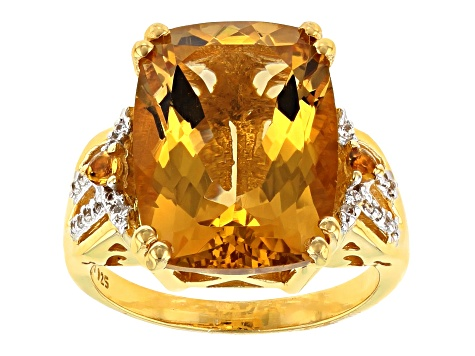 Pre-Owned Yellow Citrine 18k Yellow Gold Over Sterling Silver ring 8.69ctw