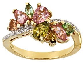 Pre-Owned Multi-tourmaline 18k gold over sterling silver ring 1.49ctw