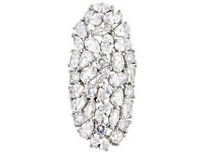 Pre-Owned White Cubic Zirconia Rhodium Over Sterling Silver Cluster Ring 21.25ctw
