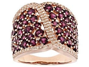 Pre-Owned Raspberry color rhodolite 18k rose gold over silver ring 5.22ctw