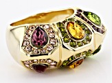 Pre-Owned Multicolor Crystal Gold Tone  Ring