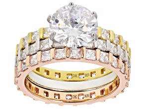 Pre-Owned White Cubic Zirconia Rhodium, 18K Yellow Gold, And 18K Rose Gold Over Sterling Silver 9.26