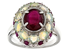 Pre-Owned Red Ruby Sterling Silver Ring 3.17ctw