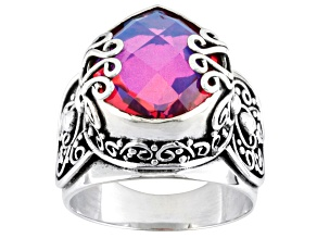 Pre-Owned Womens Scroll Detail Ring Pink Volcanic Quartz Triplet Sterling Silver
