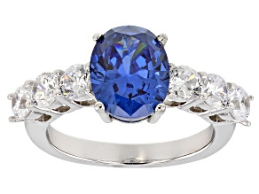 Pre-Owned Blue And White Cubic Zirconia Rhodium Over Sterling Silver Ring 6.53CTW