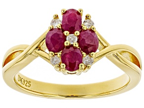 Pre-Owned Red ruby 18k yellow gold over silver ring .91ctw