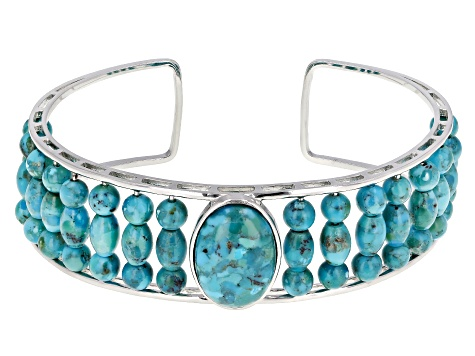 Pre-Owned Blue turquoise rhodium over silver cuff bracelet