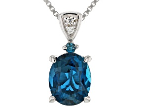 Pre-Owned London Blue Topaz Rhodium Over Sterling Silver Pendant With Chain 2.02ctw