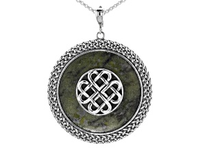 Pre-Owned Connemara Marble Disc Silver Celtic Knot Enhancer with Chain