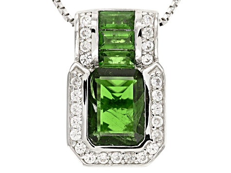 Pre-Owned Green Chrome Diopside Sterling Silver Pendant With Chain 2.30ctw