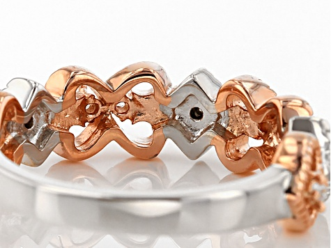 Pre-Owned Cubic Zirconia Silver And 18k Rose Gold Over Silver Ring .29ctw (.15ctw DEW)