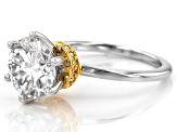 Pre-Owned Moissanite Fire® 3.26ctw DEW Platineve™ And 14k Yellow Gold Over Platineve Two Tone Ring