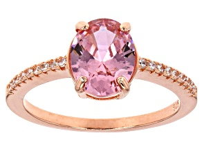 Pre-Owned Pink And White Cubic Zirconia 18k Rg Over Sterling Silver Ring 3.34ctw