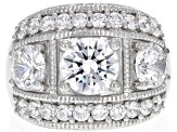 Pre-Owned White Cubic Zirconia Rhodium Over Sterling Silver Ring 9.15ctw