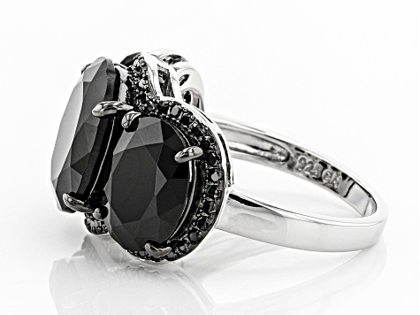 Pre-Owned Black Spinel Rhodium Over Sterling Silver Ring 10.98ctw
