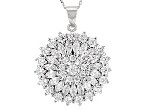 Pre-Owned White Cubic Zirconia Rhodium Over Sterling Silver Pendant With Chain 3.59ctw