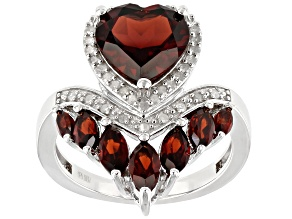 Pre-Owned Red garnet rhodium over silver ring 3.71ctw