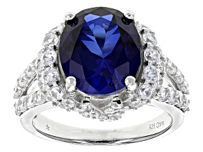 Pre-Owned Blue Synthetic Sapphire And White Cubic Zirconia Rhodium Over Sterling Silver Ring 6.09ctw
