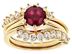 Pre-Owned Red ruby 18k  gold over silver ring & enhancer set 2.77ctw