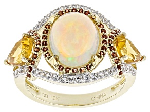 Pre-Owned Multicolor Opal 10k Yellow Gold Ring 3.91ctw