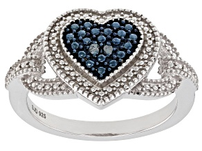 Pre-Owned Blue Diamond Accent Rhodium over Sterling Silver Ring