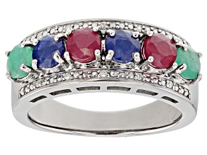 Pre-Owned Multi-Color Multi-Stone rhodium over sterling silver ring 1.57ctw