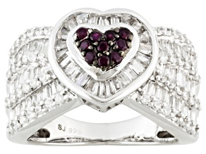 Pre-Owned Synthetic Ruby And White Cubic Zirconia Sterling Silver Ring 3.00ctw