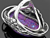 Pre-Owned Purple Turquoise Solitaire Sterling Silver Ring