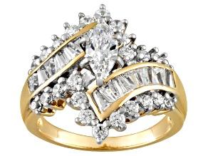 Pre-Owned Bella Luce 3.36ctw Marquise Cubic Zirconia 18k Gold Over .925 Silver Wrap Ring