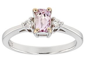 Pre-Owned Pink topaz rhodium over sterling silver ring .57ctw