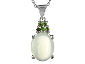 Pre-Owned Green Prehnite Sterling Silver Pendant With Chain .08ctw