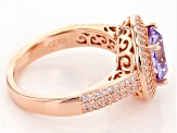 Pre-Owned Purple And White Cubic Zirconia 18k Rose Gold Over Sterling Silver Ring 5.15ctw