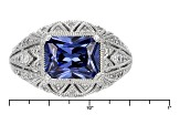 Pre-Owned Blue And White Cubic Zironia Platineve Ring 3.68ctw