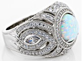 Pre-Owned Synthetic Opal And White Cubic Zirconia Platineve Ring 4.13ctw