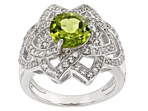 Pre-Owned Green Peridot Sterling Silver Ring 2.66ctw