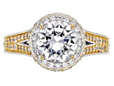 Pre-Owned White Cubic Zirconia Platineve & 18k Yellow Gold Over Silver Ring 4.15ctw